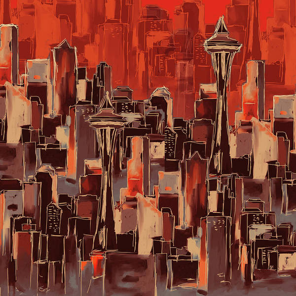 Chinatown Painting - Painting 773 1 Seattle Skyline by Mawra Tahreem