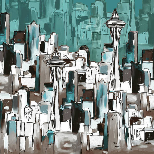 Wall Art - Painting - Painting 773 2 Seattle Skyline by Mawra Tahreem