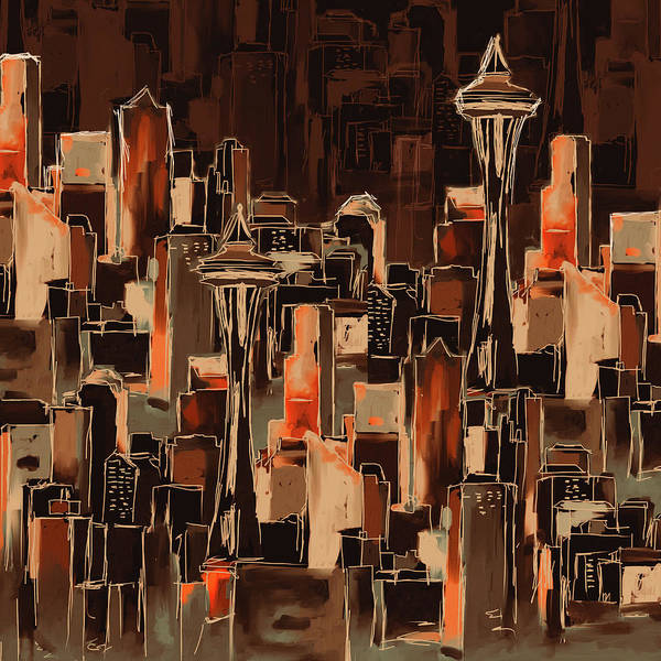 Chinatown Painting - Painting 773 3 Seattle Skyline by Mawra Tahreem