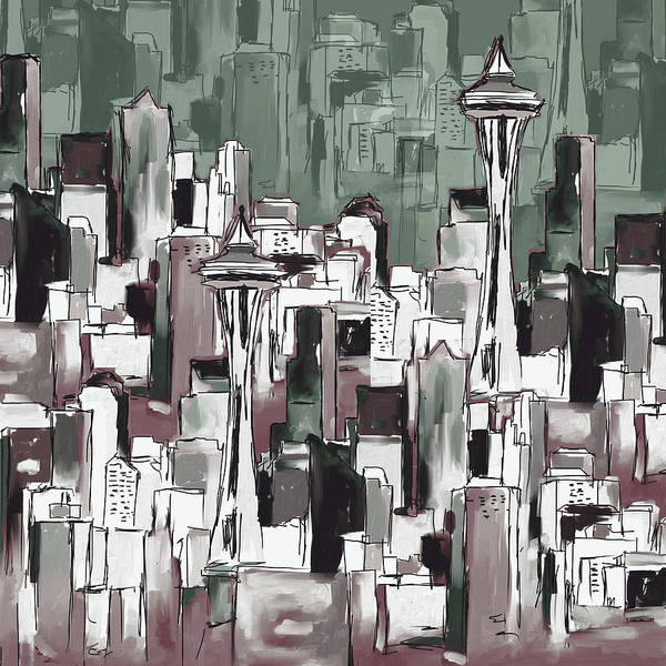 Wall Art - Painting - Painting 773 4 Seattle Skyline by Mawra Tahreem