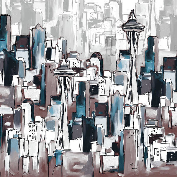 Wall Art - Painting - Painting 773 6 Seattle Skyline by Mawra Tahreem