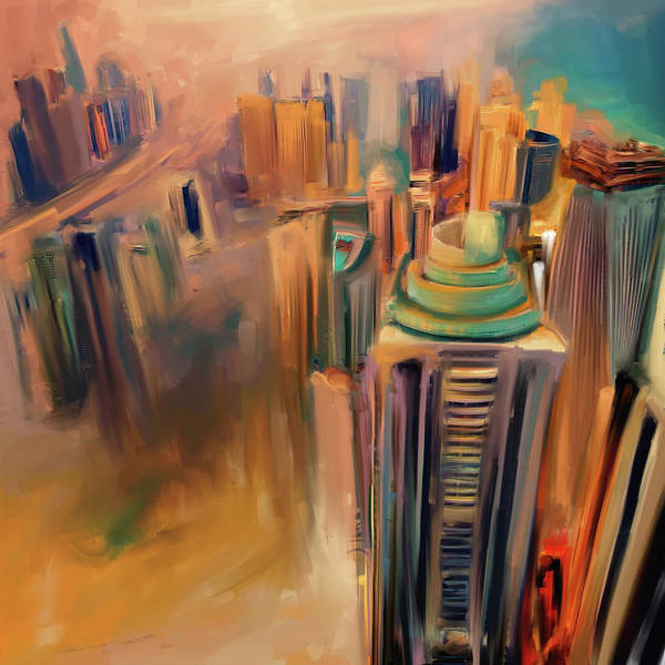 Wall Art - Painting - Painting 778 2 Dubai Skyline by Mawra Tahreem