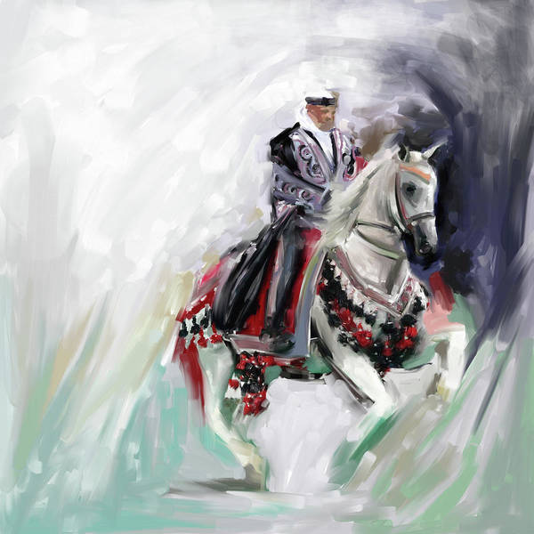 Arab Horse Painting - Painting 780 1 Arabian Horse Rider by Mawra Tahreem