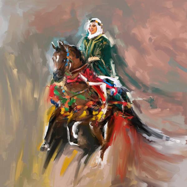 Arab Horse Painting - Painting 781 1 Arabian Horse Rider by Mawra Tahreem
