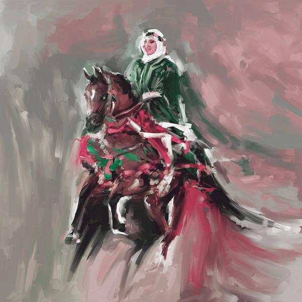 Arab Horse Painting - Painting 781 2 Arabian Horse Rider  by Mawra Tahreem