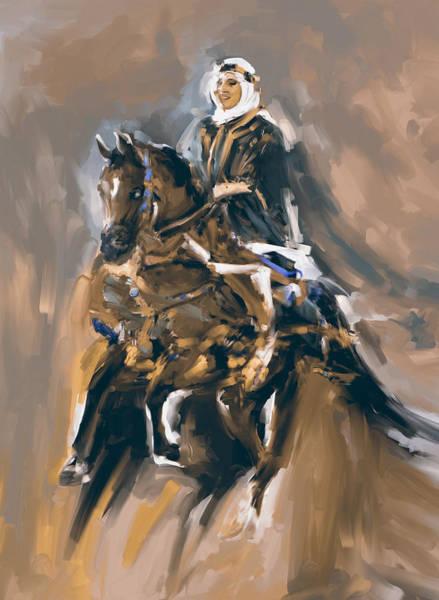 Arab Horse Painting - Painting 781 3 Arabian Horse Rider by Mawra Tahreem