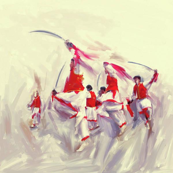 Wall Art - Painting - Painting 783 2 Khattak Dance 1 by Mawra Tahreem