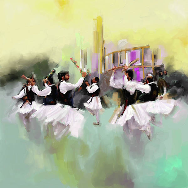 Traditional Dances Painting - Painting 785 2 Attan by Mawra Tahreem