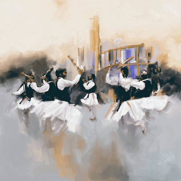 Traditional Dances Painting - Painting 785 3 Attan by Mawra Tahreem
