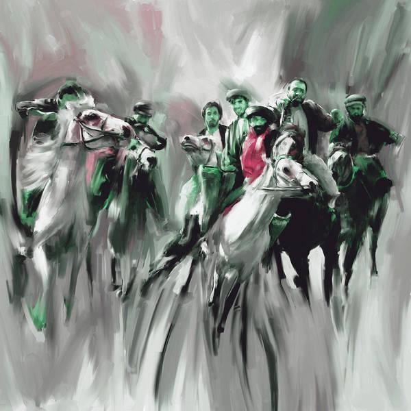 Wall Art - Painting - Painting 787 4 Buzkashi by Mawra Tahreem