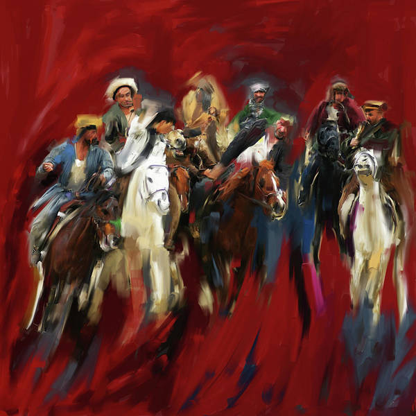 Wall Art - Painting - Painting 799 1 Buzkashi by Mawra Tahreem