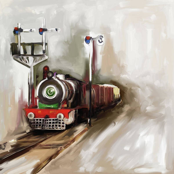 Wall Art - Painting - Painting 801 1 Steam Engine by Mawra Tahreem