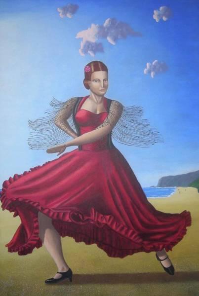 Painting Artwork Flamenco Dancing In Seville Beach  Art Print by Luigi Carlo