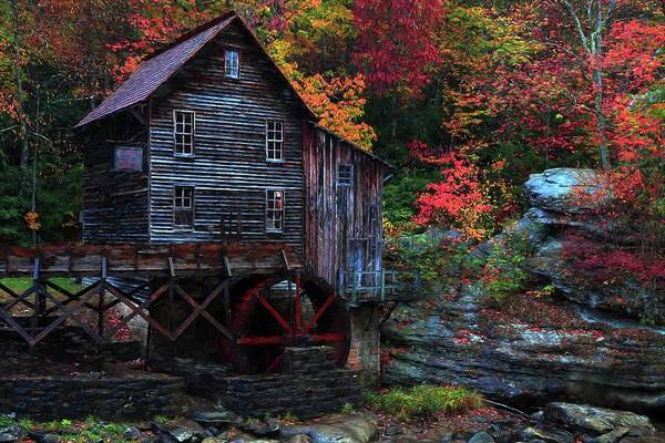 Photograph - Painting Babcock State Park Glades Creek Grist Mill West Virginia by Carol Montoya