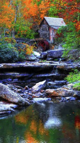 Photograph - Painting Babcock State Park Glades Creek Grist Mill West Virginia II by Carol Montoya