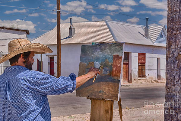 Desert Paintbrush Photograph - Painting Barrio Viejo by Priscilla Burgers