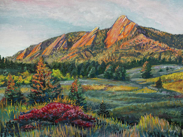 Painting - Painting - Boulder Flatirons by Aaron Spong