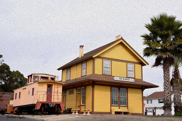 Red Caboose Painting - Painting Oceano Depot Museum by Barbara Snyder