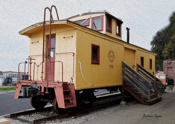 Red Caboose Painting - Painting Oceano Depot Museum Caboose  by Barbara Snyder