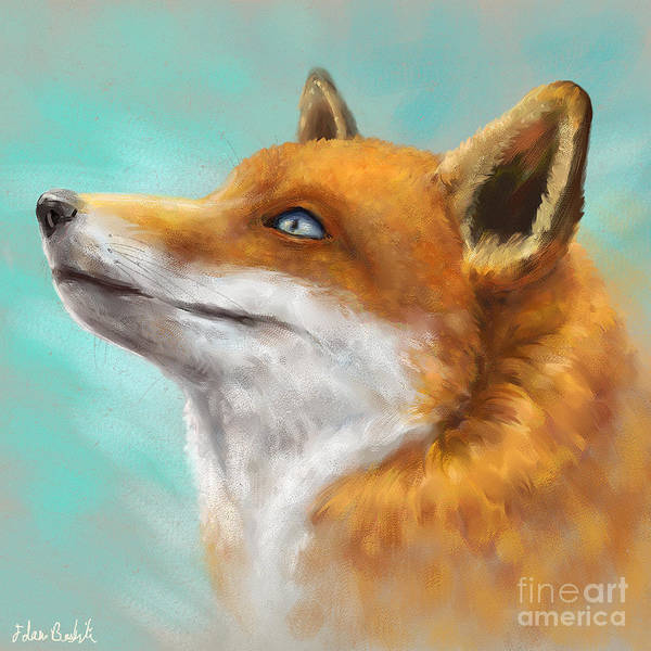Firefox Digital Art - Painting Of A Red Fox Looking To The Left With Turquoise Background  by Idan Badishi