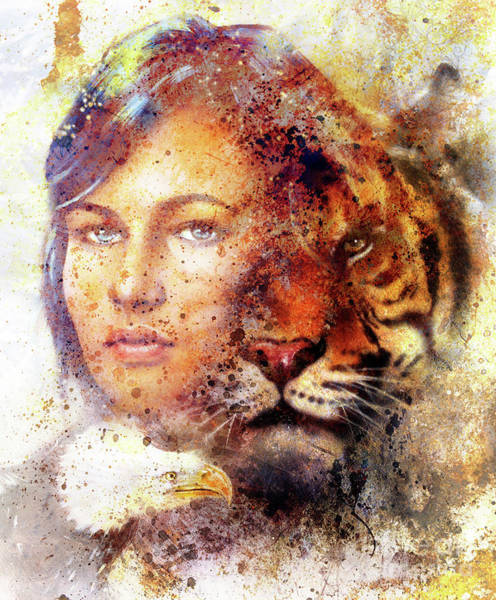 Wall Art - Painting - painting of a tiger and eagle head and woman goddess  portrait on colored abstract background, computer collage, vintage effect. Brown, orange, yellow, black and white color. by Jozef Klopacka