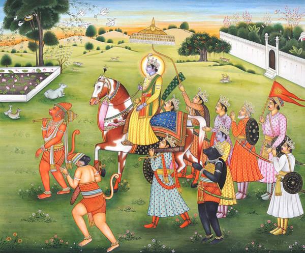 Wall Art - Painting - Painting Of  Epic Ramayana, Lord Rama Hanuman Indian Miniature Painting, Watercolor Artwork India by B K Mitra