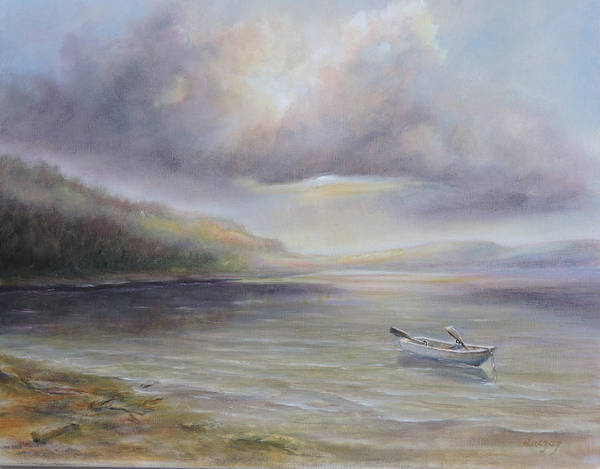 Painting - Beach By Sruce Run Lake In New Jersey At Sunrise With A Boat by Katalin Luczay