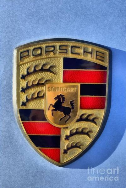 Historic Car Painting - Painting Of Porsche Badge by George Atsametakis
