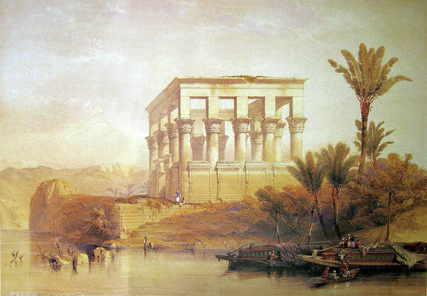 Philae Painting - Painting Of The Hypaethral Temple by David Roberts