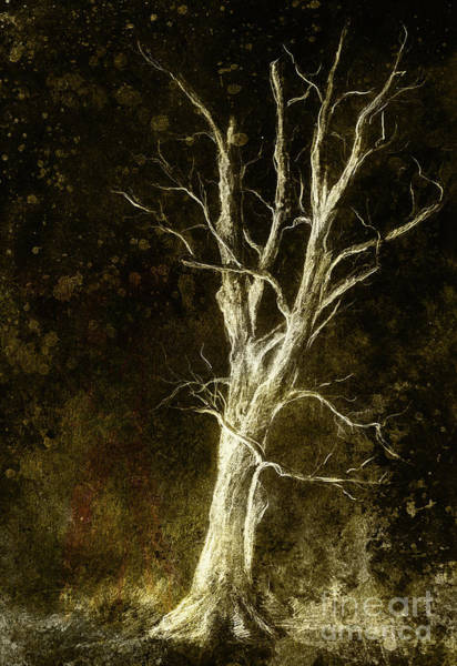 Single Leaf Mixed Media - Painting Tree In Night Landscape And Abstract Grunge Background With Spots, Original Hand Draw And Computer Collage. by Jozef Klopacka