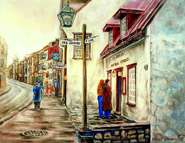 Painting - Paintings Of Quebec Landmarks Aux Anciens Canadiens Restaurant Rainy Morning October City Scene  by Carole Spandau