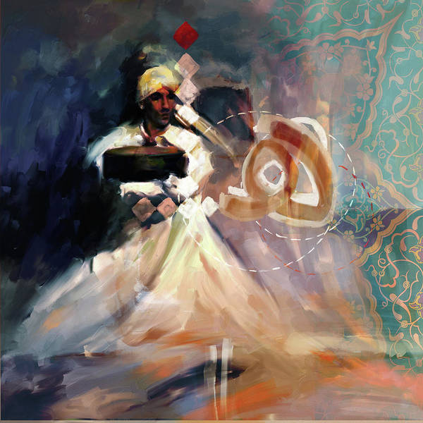 Wall Art - Painting - Paintng 726 4 Sufi Whirl 13 by Mawra Tahreem