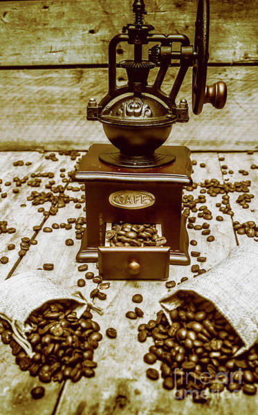 Mills Photograph - Pair Coffee Bean Bags Spilled In Front Of Grinder by Jorgo Photography - Wall Art Gallery