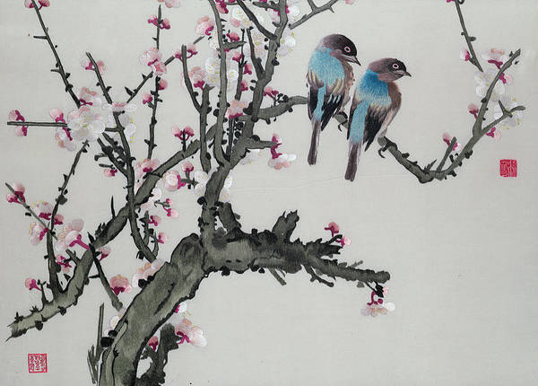 Wall Art - Painting - Pair Of Birds On A Cherry Branch by Chinese School