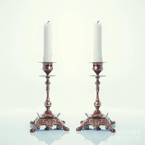 Wall Art - Photograph - Pair Of Brass Candlesticks by Amanda Elwell