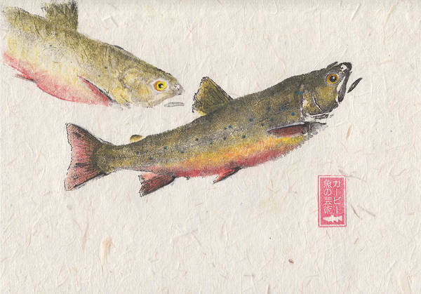 Brook Mixed Media - Pair Of Brook Trout #br0001 by Kirby Wilson