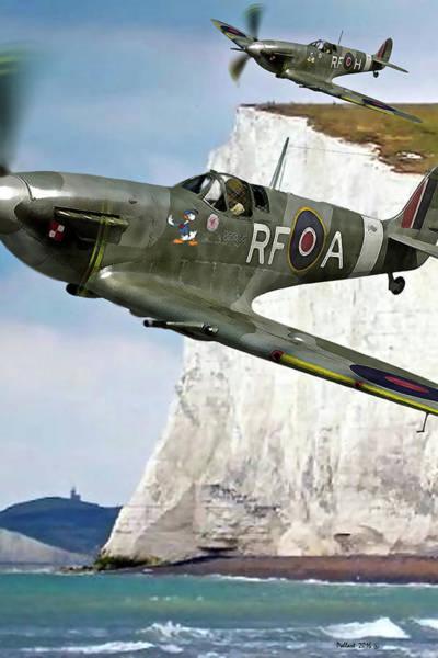 Babe Mixed Media - Pair Of British Supermarine Spitfires Donald Duck Nose Art by Thomas Pollart