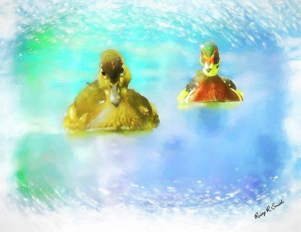 Digital Art - Pair Of Wood Ducks Swimming Toward Camera. by Rusty R Smith