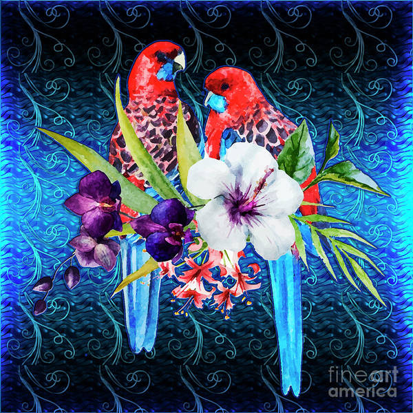 Digital Art - Paired Parrots by Digital Art Cafe
