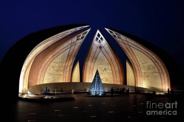 Pakistan Monument Illuminated At Night Islamabad Pakistan Art Print