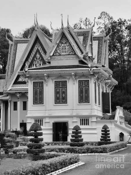 Phnom Penh Photograph - Palace Black White  by Chuck Kuhn