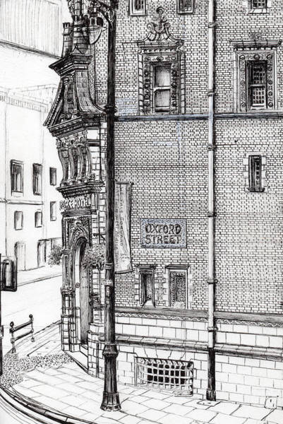 Greater Manchester Wall Art - Drawing - Palace Hotel Oxford Street Manchester by Vincent Alexander Booth