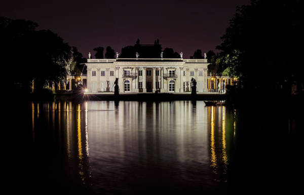 Historic Wall Art - Photograph - Palace On The Island At Night - Frontal View by Jaroslaw Blaminsky