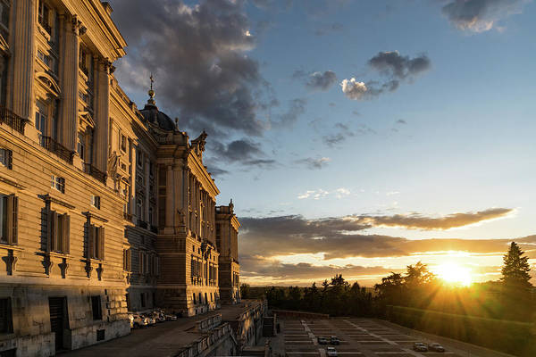 Photograph - Palacio Real Framing The Sunset In Madrid Spain by Georgia Mizuleva
