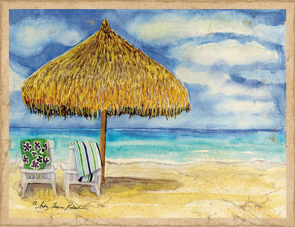 Honeymoon Painting - Palappa N Adirondack Chairs On The Mexican Shore by Audrey Jeanne Roberts