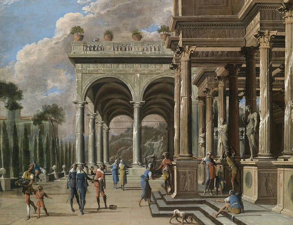 Luciano Wall Art - Painting - Palatial Architecture With Figures by Celestial Images