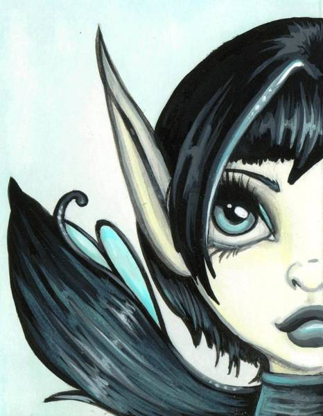 Pixie Painting - Pale Blue Fae by Elaina  Wagner