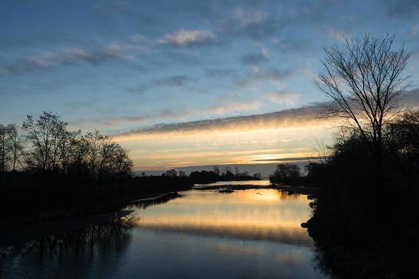 Wall Art - Photograph - Pale Lemon Sunrise - Calm River Zen by Georgia Mizuleva
