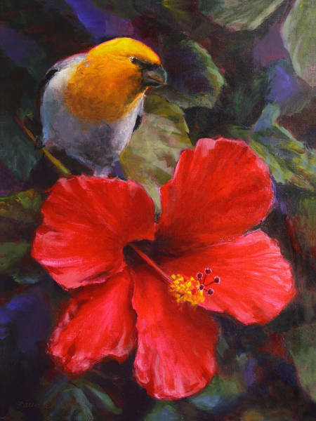 Birds And Flowers Painting - Palila And Hibiscus - Hawaiian Painting by Karen Whitworth