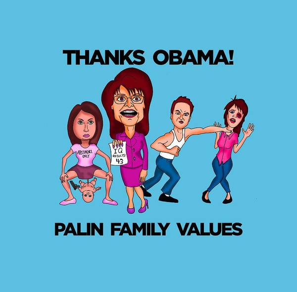 Trump Cartoon Painting - Palin Family Values by Sean Corcoran